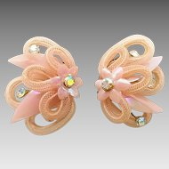 Vintage West German Pink Woven Aurora Borealis Rhinestone Flower Clip Earrings