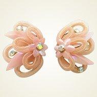 Vintage West German Pink Woven Aurora Borealis Rhinestone Flower Clip Earrings