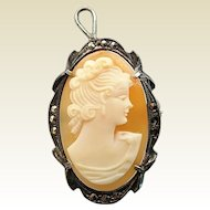 Vintage 800 Silver Marcasite Caved Shell Lovely Lady Cameo Pin Pendant