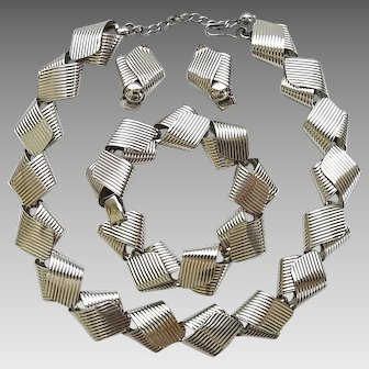 Vintage Napier Sterling Silver Ribbed Twisted Ribbon Necklace Bracelet Clip Earrings Set