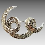 Vintage Trifari Baguette Rhinestone Dimensional Free Form Swirl Pin Brooch