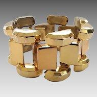 Vintage 1940's Retro Coro Tank Track Chunky Gold Plated Brass Link Bracelet