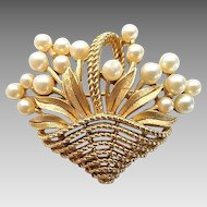 Vintage Trifari Goldtone Faux Pearl Flower Basket Pin Brooch