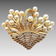 Vintage Trifari Goldtone Faux Pearl Flower Basket Pin Brooch