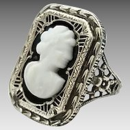 Vintage Art Deco Era Sterling Silver Filigree Glass Cameo Ring