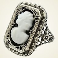 Vintage Art Deco Era Sterling Silver Filigree Glass Cameo Ring