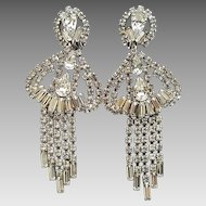 Vintage 1950's Huge Dramatic Rhinestone Glitzy Chandelier Clip Earrings