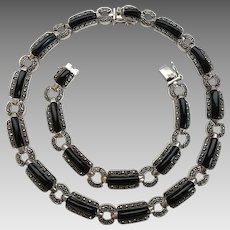 Vintage Art Deco Style Sterling Silver Marcasite Onyx Necklace Bracelet Set