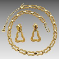 Vintage Trifari Textured Goldtone Necklace Door Knocker Clip Earring Set