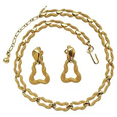 Vintage Trifari Textured Goldtone Necklace Door Knocker Clip Earring Set