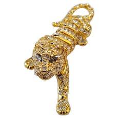 Vintage Signed Trifari Big Cat Tiger Goldtone Glitzy Rhinestone XL Pin Brooch