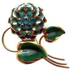 Vintage Huge Enamel Rhinestone Flower Floral Brooch Pin