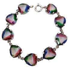 Vintage German 835 Silver Iris Rainbow Art Glass Heart Stones Bracelet