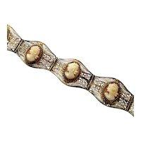 Vintage 800 Silver Filigree Carved Shell Cameo Bracelet