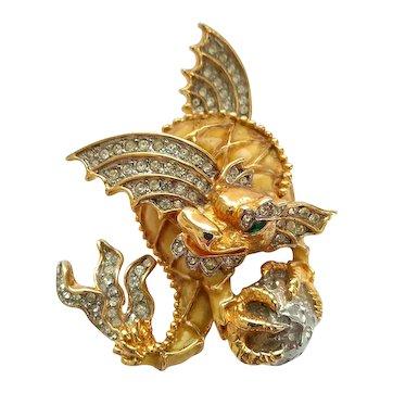 Vintage KJL Dragon Fantasy Beast Brooch Pin Kenneth J Lane 1960's Early Mark