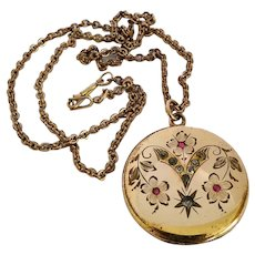 Antique Victorian Gold Filled Engraved Floral Clear & Ruby Paste Locket Pendant Necklace