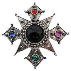 Vintage Jonette Signed JJ Antiqued Silvertone Cabochon Maltese Cross Pin Brooch
