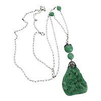 Vintage Circa 1920's Faux Carved Jade Art Glass Pendant Sautoir Necklace