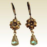 Antiqued Bronze Flower Saphiret Glass Artisan Earrings