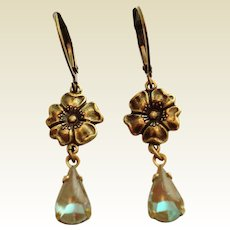 Antiqued Bronze Flower Saphiret Glass Artisan Earrings