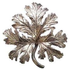 Vintage Large Sterling Silver Guglielmo Cini Sterling Silver Sculpted Leaf Pin Brooch