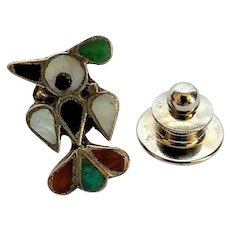 Vintage Stone Inlaid Sterling Silver Thunderbird Pin Tie Tack