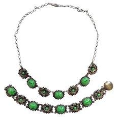 Vintage 1940's Green Cabochon Flower Necklace Matching Snap Catch Bracelet