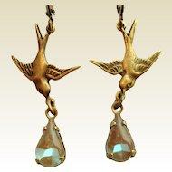 Antiqued Bronze Bird In Flight Saphiret Glass Artisan Earrings