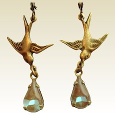 Antiqued Bronze Bird In Flight Saphiret Glass Artisan Earrings