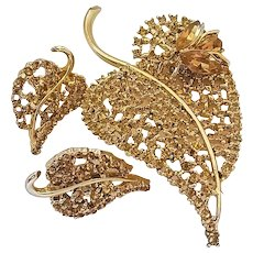 Vintage Big Signed Dodds Rhinestone Leaf Fly Insect Bug Pin Brooch Earrings Set