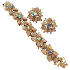 Vintage Harlequin Glass Fire Opal Rhinestone Bracelet Earrings Set