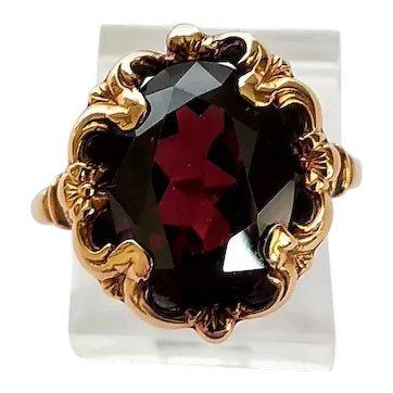 Vintage 10K Gold Garnet Fancy Scroll Floral Frame Ladies Ring Size 6