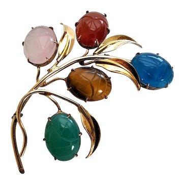 Vintage Walter Lampl 1/20 12k Gold Filled Genuine Semi-Precious Scarab Pin Brooch