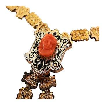 Antique Victorian Ornate Bookchain Coral Cameo Taille D'Epargne Black Enamel Necklace