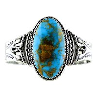 Native American Cuff-Bracelet Lone Mountain Turquoise Coin Silver