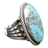 Navajo Perry Shorty Morenci Turquoise Vintage Ring