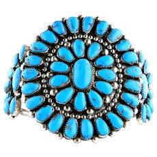 Vintage Native American Turquoise Silver Cluster Cuff