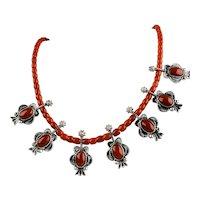 "Navajo Natural Mediterranean Coral sterling silver necklace Handmade  By Allison Lee ""Snowhawk"""