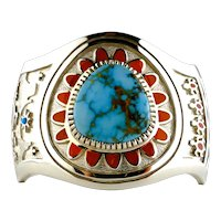 Navajo Vernon Haskie Bracelet Lone Mountain Turquoise/ Coral  Sterling Silver