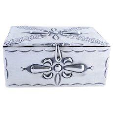 Vintage Native American Handmade Sterling Silver Jewelry Box