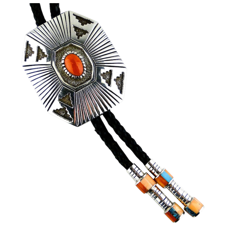 5899a028acb9 Native American, Coral Bolo Tie By Vernon Haskie, Signed, Sterling : Sedona  By Manzano Jewelers, LLC | Ruby Lane
