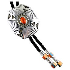Native American, Coral Bolo Tie By Vernon Haskie,  Signed, Sterling Silver