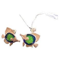 Kabana Sterling Silver Tropical Fish Post Earrings