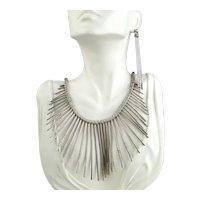 Navajo Sterling Silver Handmade Necklace-Earrings Set.
