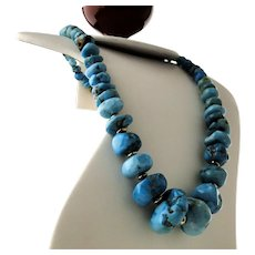 Navajo Large Blue Gem Turquoise Nugget Necklace