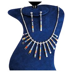 Native American Multi-Stone Inlay Necklace & Earrings Set