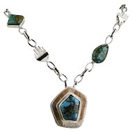 Gem Grade Royston Turquoise  Necklace By Jack Tom. Navajo 14k / S