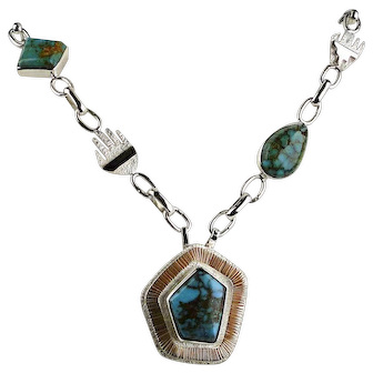 Navajo Turquoise Necklace By Jack Tom. Sterling /14k