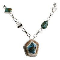 Royston Turquoise Necklace By Jack Tom, Navajo,  Sterling Silver and  14k Gold