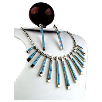 Native American Turquoise Inlay Necklace & Earrings Set